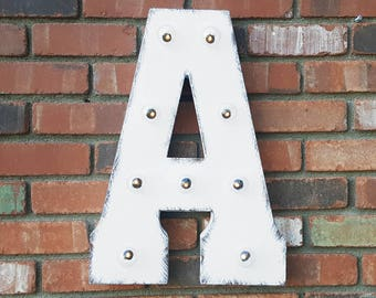 ON SALE! Letter A. Battery Operated. Choose Rustic or Non-Rustic. Vintage Style Marquee LED Light Up Sign. Batteries Included!