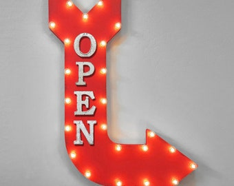 "ON SALE! 36"" OPEN Enter Here Welcome Come In Plug-In Battery Operated led Open Light Up Large Rustic Metal Marquee Door Sign Arrow 14 Colors"