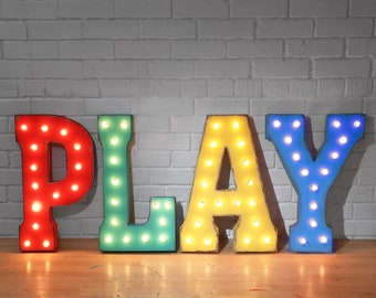 """On Sale! 21"""" PLAY Metal Sign - Playroom Game Room Den Free Standing or Hang- Rustic Vintage Style Marquee Light Up Letters"""