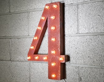 ON SALE! Plug-In Number 4 Four. 14 Color Options! Rustic Metal Marquee Light Up Sign. We have ALL the numbers 0 1 2 3 4 5 6 7 8 9