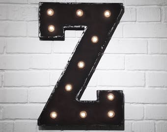 """On Sale! 21"""" Letter Z Metal Sign - Battery Operated - Rustic or Non-Rustic - Custom Vintage Style Marquee Steel LED Light Up"""
