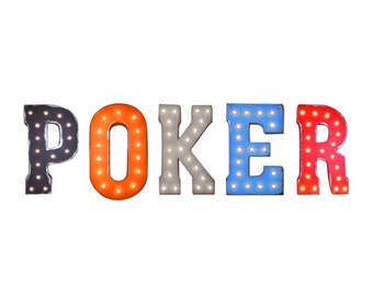 """On Sale! 21"""" POKER Metal Sign - Night Game Cards - Free Standing or Hang - Rustic Vintage Style Marquee Light Up Letters"""