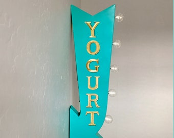 "On Sale! 25"" YOGURT Dessert Sweet Yum Dairy Plugin or Battery Operated Rustic led Double Sided Rustic Metal Arrow Marquee Light Up Sign"