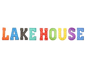 """On Sale! 21"""" LAKE HOUSE Metal Sign - Country Boat Fishing Home Cabin - Free Standing or Hang - Rustic Vintage Style Marquee Light Up Letters"""