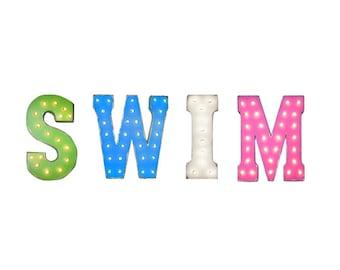"On Sale! 21"" SWIM Metal Sign - Swimming Splash Play Fun Water Lake Ocean Pool - Rustic Vintage Style Marquee Light Up Letters"