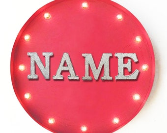 "ON SALE! 20"" CUSTOM Plugin or Battery Operated led Rustic Metal Round Marquee Personalized Your Baby Name Here Light Up Sign - 14 Colors!"