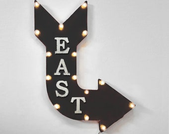 "On Sale! 24"" EAST Curved Metal Arrow Sign - Direction Compass North South West - Rustic Vintage Marquee Light Up"