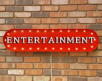 """On Sale! 39"""" ENTERTAINMENT Movies Play Room Comedy Theater Games Unique Vintage Style Rustic Metal Marquee Light Up Sign"""