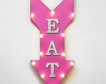 "On Sale! 24"" EAT Straight Arrow Sign - Food Order Pick Up Dine Diner Cafe Bakery - Rustic Vintage Marquee Light Up"