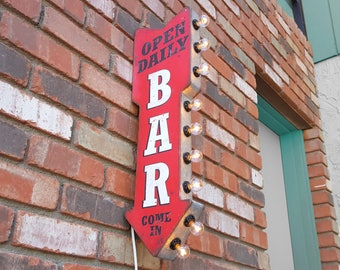 On Sale! BAR Metal Sign - Plugin or Battery Operated - Open Daily Come In Cocktails Pub - Double Sided Rustic Vintage Style Marquee Light Up