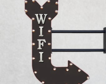"On Sale! 36"" WIFI Metal Arrow Sign - Free Internet Connection Computer Laptop - Double Sided Hang or Suspend - Rustic Marquee Light Up"