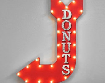 "ON SALE! 36"" DONUTS Pastry Donut Dessert Danish Plug-In or Battery Operated led Open Light Up Large Rustic Metal Marquee Sign Arrow 14 Color"