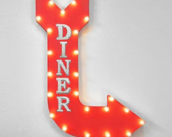 """On Sale! 36"""" DINER Metal Arrow Sign - Plugin or Battery Operated - Food Restaurant Eat Breakfast Lunch Dinner - Rustic Marquee Light up"""