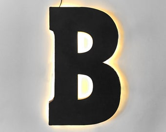 "On Sale! 21"" Letter B Backlit Metal Sign - Plugin or Battery Operated - Rustic Marquee Vintage Style Cutout Light Up"