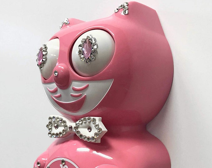 Featured listing image: Limited Edition! Official PINK Kit Cat Clock - Gentlemen Gentleman Male Boy Strawberry - Jeweled Swarovski Crystals Kit Kat Cat Clock Klock
