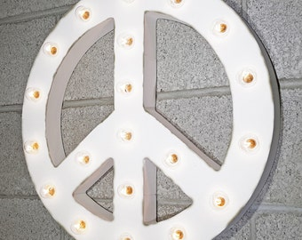 "On Sale! 21"" Large Peace Sign Symbol Plug In Rustic Metal Vintage Inspired Light Up Marquee Sign"