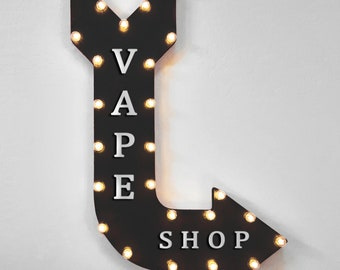 "On Sale! 36"" VAPE SHOP Metal Arrow Sign - Plugin, Battery or Solar - Bar Lounge Smoking Smoke Puff Hookah Vaping - Rustic Marquee Light Up"