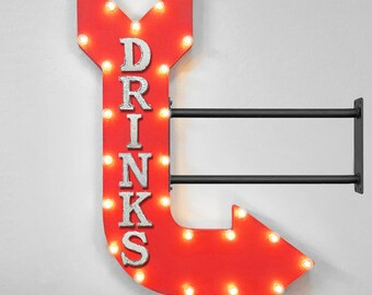 "On Sale! 36"" DRINKS Metal Arrow Sign - Beer Cocktails Tavern Bar Pub Cold Drink - Double Sided Hang or Suspend - Rustic Marquee Light Up"
