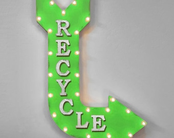 "On Sale! 36"" RECYCLE Metal Arrow Sign - Plugin or Battery Operated - Trash Garbage Waste Material Reuse - Rustic Marquee Light up"