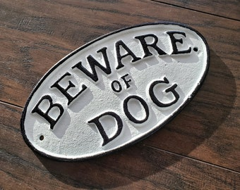 On Sale! - Beware Of Dog - Metal Vintage Antique Style Solid Cast Iron Door Sign Plaque - 4 color options!