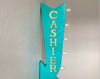 "On Sale! 25"" CASHIER Please Pay Here Cash or Check Plugin Battery Operated Rustic led Double Sided Rustic Metal Arrow Marquee Light Up Sign"