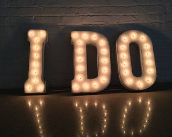 """On Sale! 21"""" I DO Metal Sign - Plugin, Battery or Solar - Vintage Love Wedding Prop Ceremony - Rustic Vintage Style Marquee Light Up Letters"""