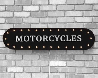 """On Sale! 39"""" MOTORCYCLES Sign Motor Cycle Dirt Bike Street Road Bikes Motorcycle Vintage Style Rustic Metal Marquee Light Up"""