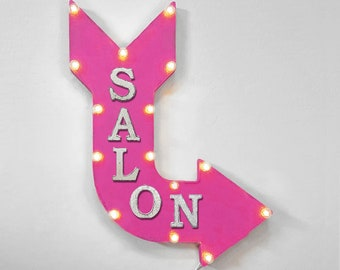"On Sale! 24"" SALON Curved Metal Arrow Sign - Hair Hairdo Beauty Shop Parlor - Rustic Vintage Marquee Light Up"