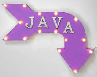 "On Sale! 24"" JAVA Curved Metal Arrow Sign - Coffee Cafe Bakery Tea Espresso Latte Mocha - Rustic Vintage Marquee Light Up"