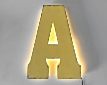 "On Sale! 21"" Letter A Backlit Metal Sign - Plugin or Battery Operated - Rustic Marquee Vintage Style Cutout Light Up"
