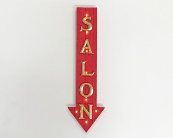 """ON SALE! 21"""" SALON Wood Battery Operated led Rustic Wooden Hair Cut Beauty Parlor Barber Shop Arrow Marquee Light Up Sign"""
