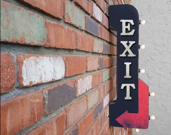 """On Sale! 30"""" EXIT Metal Arrow Sign - Plugin or Battery Operated - Entrance Leave Out Come Here Way  - Double Sided Rustic Marquee Light Up"""