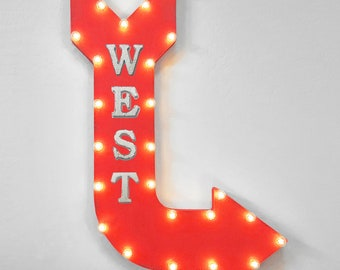 """On Sale! 36"""" WEST Metal Arrow Sign - Plugin or Battery Operated - Hiking Trail Camp North East South Direction - Rustic Marquee Light up"""