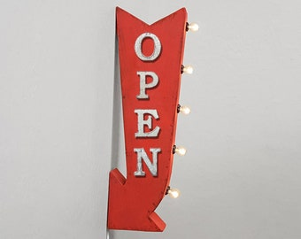 "ON SALE! 25"" OPEN This Way Enter Here Come In Plugin or Battery Operated Rustic led Double Sided Rustic Metal Arrow Marquee Light Up Sign"