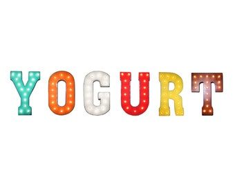 """On Sale! 21"""" YOGURT Metal Sign - Plugin - Ice Cream Gelato Sugar Candy Free Standing or Hang - Rustic Vintage Style Marquee Light Up Letters"""