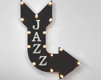 "On Sale! 24"" JAZZ Curved Metal Arrow Sign - Music Groove Groovy Listen Tune Dance Sax - Rustic Vintage Marquee Light Up"