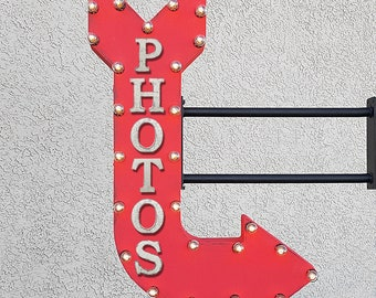 "ON SALE! 36"" PHOTOS Plugin Double Sided Photo Booth PhotoBooth Photography Smile Cheese Light Up Large Rustic Metal Marquee Sign Arrow"