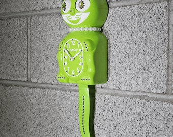 Limited Edition! Official LIME GREEN Kit Cat Clock - Lady Girl Female Chartreuse - Jeweled Swarovski Crystals Kit Kat Cat Clock Klock