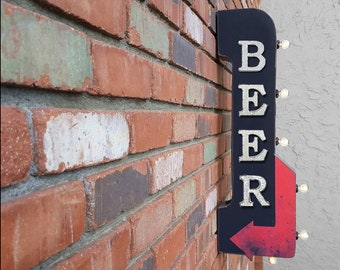 "On Sale! 30"" BEER Metal Arrow Sign - Plugin or Battery Operated - Bar Pub Brewry Brew - Double Sided Rustic Marquee Light Up"