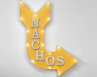 "On Sale! 24"" NACHOS Curved Metal Arrow Sign - Chips Cheese Dip Food Eat Park Fair Festival - Rustic Vintage Marquee Light Up"