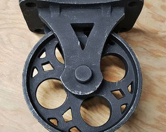 ON SALE - Set of 4 - Solid Iron Rustic Black Vintage Style Industrial Furniture Caster Wheel Casters