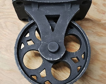 On Sale! - Set of 4 - Solid Cast Aluminum Wheel Casters - Rustic Black Vintage Style Industrial Furniture Caster