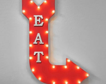 "ON SALE! 36"" EAT Here Food Double Sided Hanging Suspended Hang Rustic Metal Arrow Marquee Eatery Cafe Diner Light Up Sign - 14 Colors!"