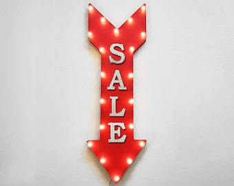 """ON SALE! 36"""" SALE Discount Price On Sale Plug-In or Battery Operated led Light Up Restaurant Large Rustic Metal Marquee Sign Arrow"""