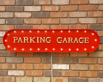 """On Sale! 39"""" PARKING GARAGE Storage Park Here Free Paid Car Airport Garage Vintage Style Rustic Metal Marquee Light Up Sign"""