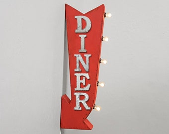 """On Sale! 25"""" DINER Metal Arrow Sign - Plugin or Battery Operated - Food Eat Brunch Lunch Breakfast - Double Sided Rustic Marquee Light Up"""