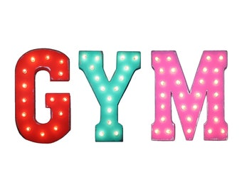 "On Sale! 21"" GYM Metal Sign - Workout Fitness Club Class Weights Free Stand or Hang - Rustic Vintage Style Marquee Light Up Letters"