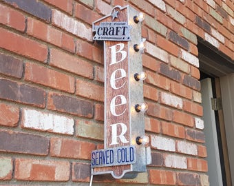 ON SALE! Plugin or Battery. Craft Beer Served Cold Double Sided Rustic Man Cave Metal Vintage Style Marquee Light Up Draft Beer Bar Sign
