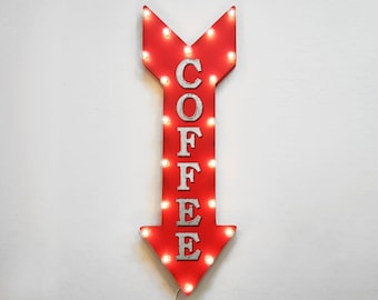 "ON SALE! 36"" COFFEE Cafe Espresso Late Iced Hot Plug-In or Battery Operated led Light Up Restaurant Large Rustic Metal Marquee Sign Arrow"
