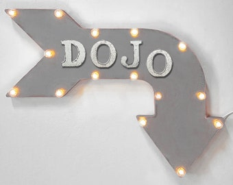 "On Sale! 24"" DOJO Curved Metal Arrow Sign - Martial Arts Training Place Physical Fight Fighting Wrestle - Rustic Vintage Marquee Light Up"